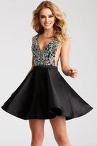 Jovani 55130 Deep V-Neck Ornate Cocktail Dress