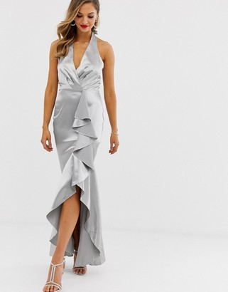 City Goddess high low frill hem maxi dress-Silver