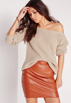 Missguided Off Shoulder Sweater Nude