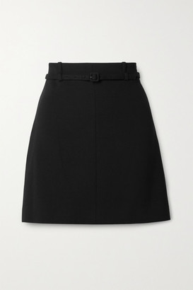 Theory Belted Crepe Mini Skirt - Black