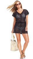 Calvin Klein Open-Knit Striped Tunic Cover Up
