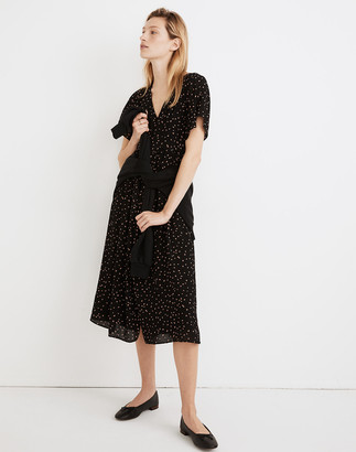 Madewell Flutter-Sleeve Button-Front Midi Dress in Confetti Toss