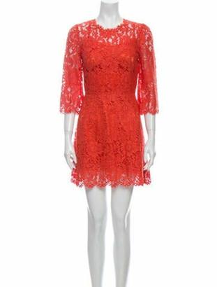Dolce & Gabbana Lace Pattern Mini Dress Orange