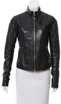 Veda Knit Trim Leather Jacket