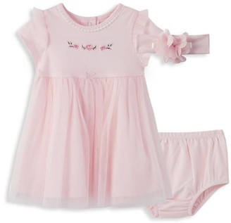 Little Me Baby Girl's 3-Piece Dress, Bloomers & Headband Set