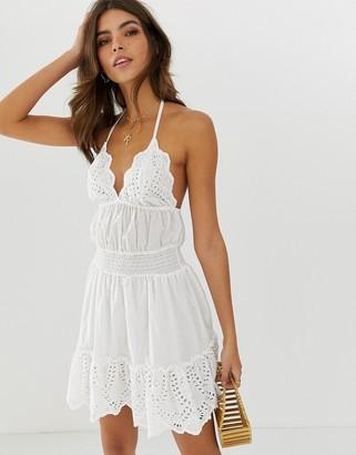 Asos Design DESIGN broderie mini sundress with elasticated waist-White