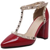Azbro Women's Pointed Toe T-strap Rivet Chunky Heels Pumps