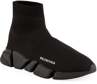 Balenciaga Men's Tonal Speed Knit Sock Sneakers