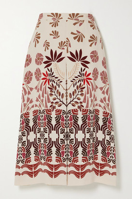 Loro Piana Printed Silk-blend Midi Skirt - Ivory