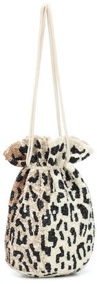 Ganni Beaded leopard-print pouch