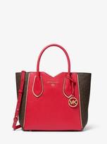 MICHAEL Michael Kors Mae Medium Pebbled Leather and Logo Messenger Bag