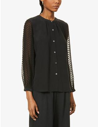 Rails Camilla semi-sheer sleeves silk-crepe shirt
