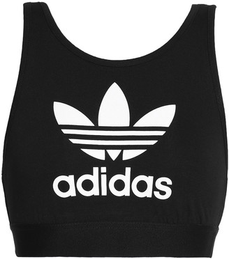 adidas Printed Stretch-cotton Jersey Sports Bra