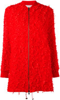 Giamba fringed detail coat - women - Polyamide/Cupro/Viscose/Wool - 42
