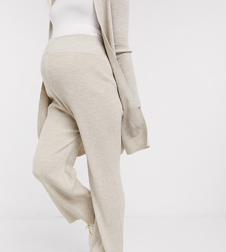 Fashionkilla Maternity knitted flare trouser co ord in oatmeal