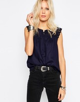 Only Tie Front Top With Frill Sleeve