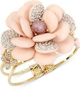 Betsey Johnson Gold-Tone Pavé and Stone Flower Hinged Bangle Bracelet