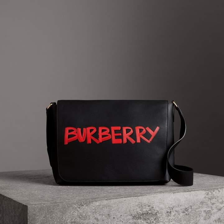 Burberry Large Graffiti Print Leather Messenger Bag