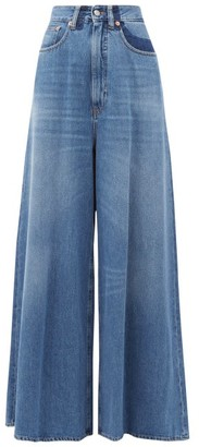 MM6 MAISON MARGIELA High-rise Crease-print Wide-leg Jeans - Denim