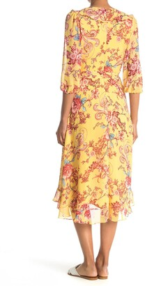 Gabby Skye Floral Chiffon Wrap Style Midi Dress