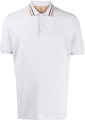 Brunello Cucinelli Striped-Collar Polo Shirt