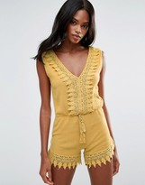 MANGO Lace Cotton Romper