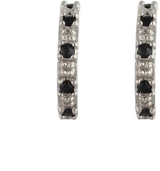 Ivy Gems Sterling Silver Sapphire and Diamond Half Hoop Earrings