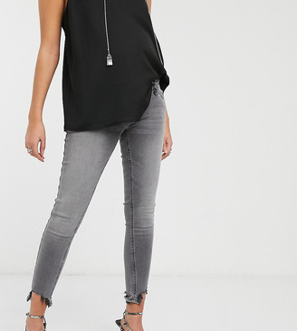 Topshop Maternity Jamie overbump skinny jeans with raw hem in gray