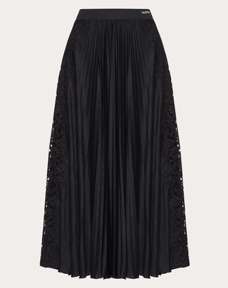 Valentino Jersey And Heavy Lace Skirt Women Black M