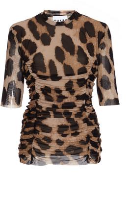Ganni Ruched Leopard-Print Mesh Top