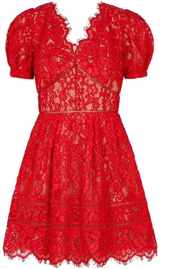 Self-Portrait Red guipure lace mini dress