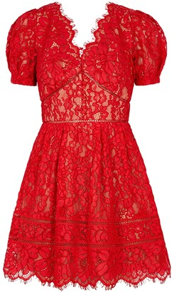 Self-Portrait Red guipure lace mini dress