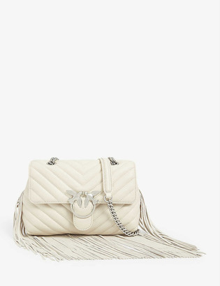 Pinko Love Puff leather fringed shoulder bag