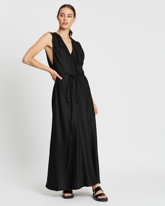 BONDI BORN Women's Black Maxi dresses - Fluid V-Neck Dress - Size One Size, XS at The Iconic
