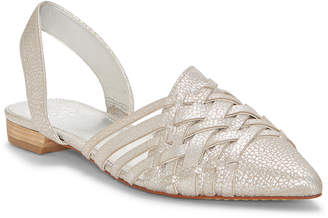 Vince Camuto Women's Ballet Flats METAL - Metal Silver Meena Woven Leather Pointed-Toe Flat - Women