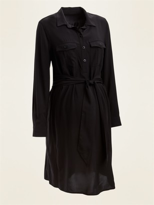 Old Navy Maternity Utility Tie-Belt Long-Sleeve Shirt Dress