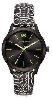 Michael Kors Runway 3-Hand Stainless Steel & Leather-Strap Watch