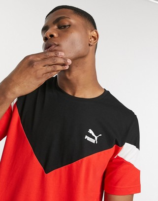 Puma Iconic MCS logo t-shirt in red and black
