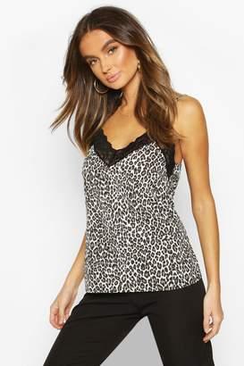 boohoo Leopard Print Lace Trim Cami