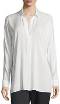 Vince Silk Long-Sleeve Popover Blouse, Off White