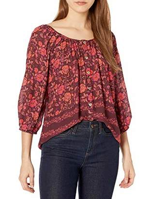 For Love and Liberty Women's Printed Rayon Peasant top