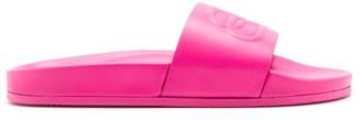 Balenciaga Piscine Bb-logo Leather Slides - Pink