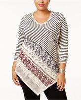 Belldini Plus Size Asymmetrical Sweater Tunic