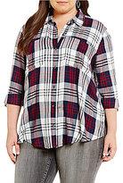 Jessica Simpson Plus Dion Hi-Low Hem Plaid Shirt