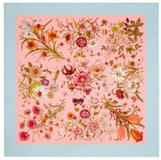 Gucci Floral & Star Print Silk Twill Scarf