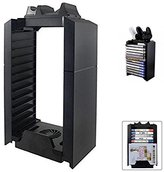 PS4 / PS4 Slim / PS4 pro Game Storage Holder, 2win2buy 4 in 1 Play Station 4 Vertical Stand Cooling Fan, Dual shock Controller Charging Station and PS4 Video Games DVD Storage Tower (Black)