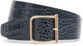Reiss Otis Croc - Wide Leather Belt in Blue, Womens