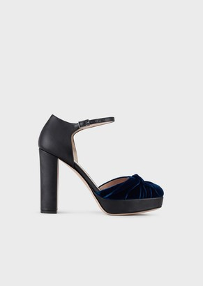 Giorgio Armani Leather Mary Janes With Velvet Toes And Bow