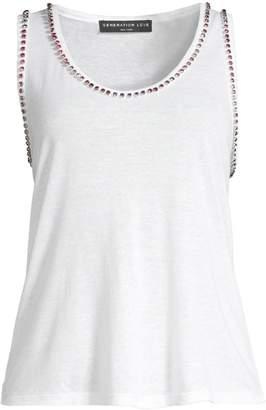 Generation Love Zia Crystal Studded Linen-Blend Tank Top