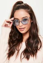 Missguided Blue Clear Cat Eye Sunglasses, Blue